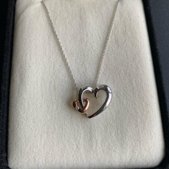 Kay Jewelers Jewelry Double Heart Necklace With Diamond Poshmark